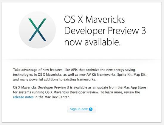 Mac : OS X Mavericks Developer Preview 3 disponible