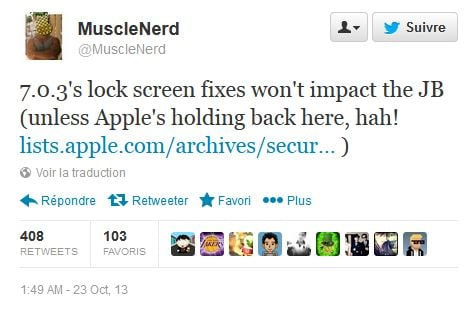 Jailbreak iOS 7 : iOS 7.0.3 ne l'empêchera pas