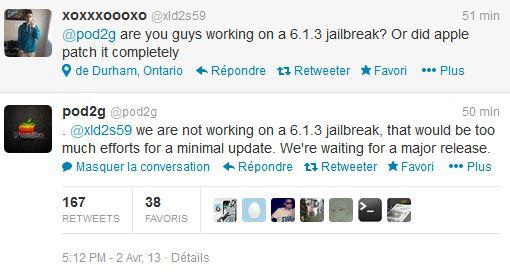 pod2g ios 6.1.3 twitter - Jailbreak iOS 6.1.3 : evad3rs ne travaille pas dessus