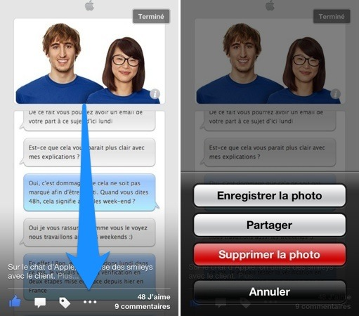 Facebook iOS 6.1.1 - Facebook iOS 6.1.1 : nouveau bouton d'options pour les photos