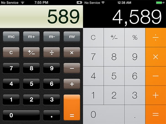 iOS 7 vs iOS 6 Calculatrice - iOS 7 vs iOS 6 : le comparatif visuel