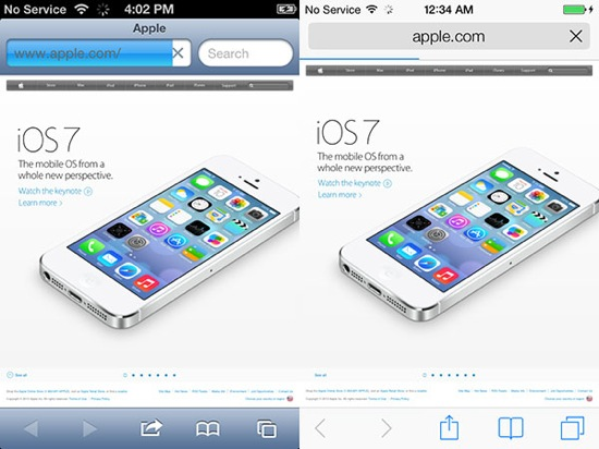 iOS 7 vs iOS 6 Safari - iOS 7 vs iOS 6 : le comparatif visuel