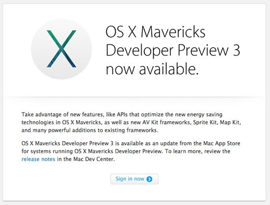 OS X Mavericks Developer Preview 3 - Mac : OS X Mavericks Developer Preview 3 disponible