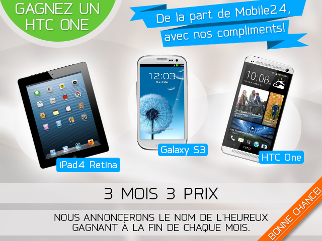 concours mobile24 HTC iPad Galaxy - Concours : iPad 4, HTC One et Galaxy S3 à gagner avec Mobile24
