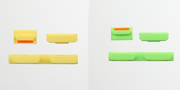 iPhone 5C boutons jaunes verts - iPhone 5C : photos de boutons colorés et modèle vert