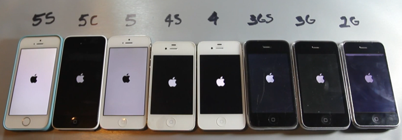 iphone 5S 5C 5 4S 4 3GS 3G 2G - iPhone 5S vs 5C vs 5 vs 4S vs 4 vs 3Gs vs 3G vs 2G : vidéo comparative