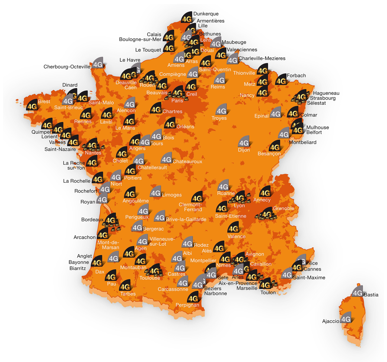 oranges 4g france septembre 2013 - Orange : Paris couvert à 100% par la 4G
