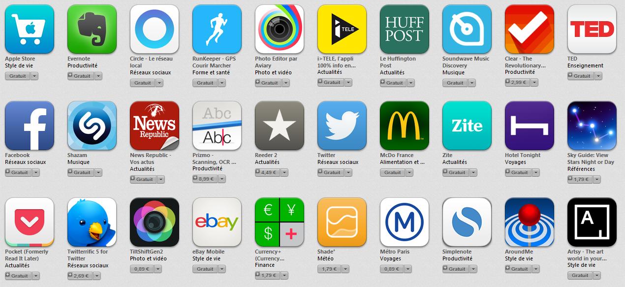 top 30 ios 7 app store - App Store : Top 30 des applications optimisées iOS 7