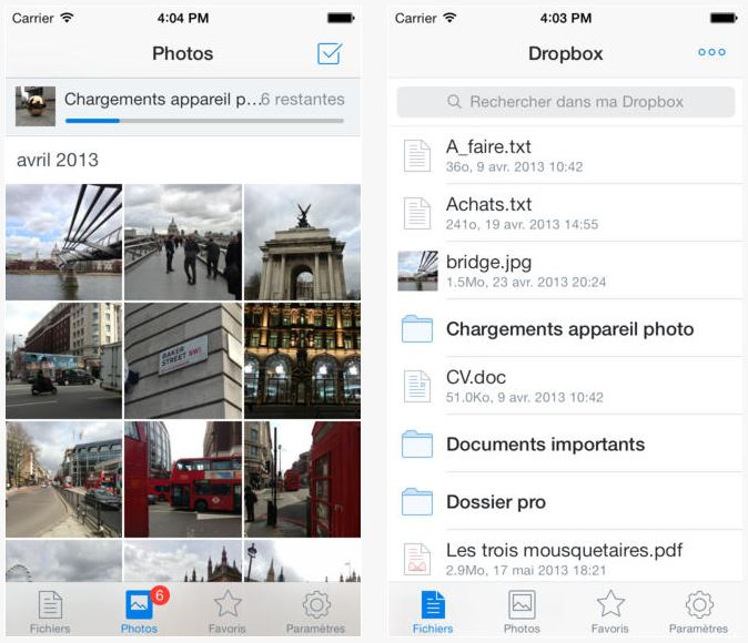 dropbox ios 7 - Dropbox 3 : design iOS 7 et compatibilité Airdrop