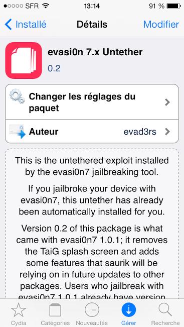 evasi0n 7 cydia 0.2 - Jailbreak iOS 7 : evasi0n 7.x passe en version 0.2 sur Cydia