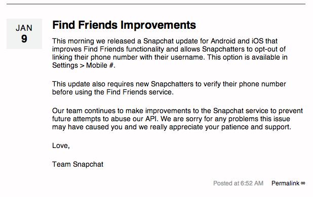 Snapchat excuses - Snapchat : une mise à jour suite au piratage