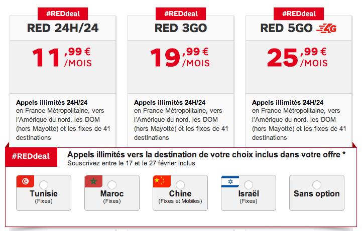 Reddeal SFR RED fevrier 2014 - SFR RED : appels illimités en Tunisie, Maroc, Chine ou Israël (#REDdeal)
