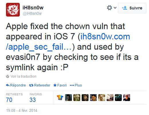 ih8sn0w twitter ios 7.1 beta 5 - Jailbreak iOS 7 : iOS 7.1 bêta 5 bloque certaines failles