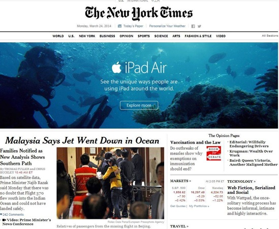 Publicite iPad Air New York Times VOL MH370 - Insolite : un publicité de l'iPad Air près d'un article sur le crash du Vol MH370
