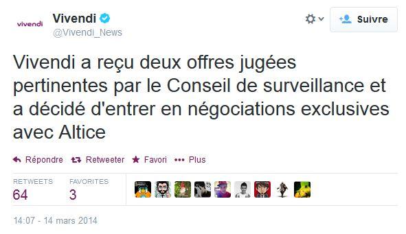Vivendi rachat SFR Altice - Rachat de SFR : Vivendi choisit Numericable (Altice) plutôt que Bouygues