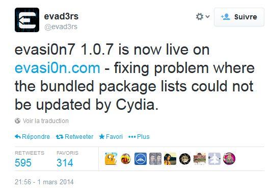 evasi0n7 1.0.7 - Jailbreak iOS 7 : Evasi0n 7 1.0.7 corrige un problème de paquets Cydia