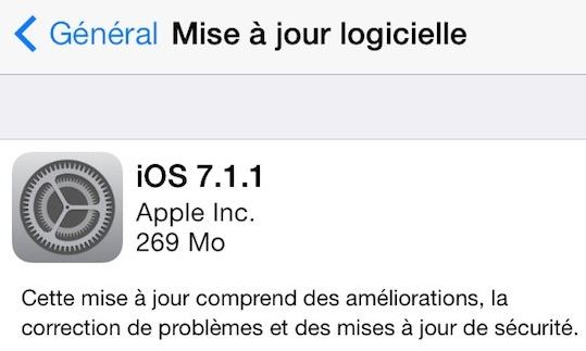 iOS 7.1.1 - iOS 7.1.1 disponible sur iPhone, iPad & iPod Touch