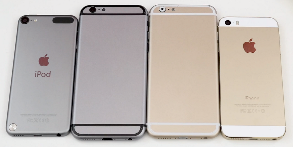 iPhone-6-or-gris-sideral-vs-ipod-touch-5g-vs-iphone-5s