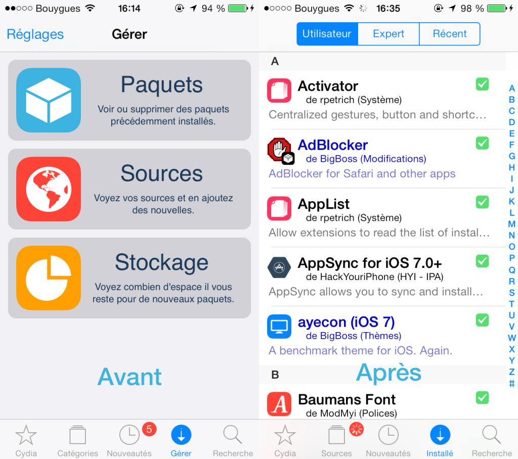 Cydia mise a jour iOS 7 1024x908 - Jailbreak : Cydia devient plus rapide et plus simple