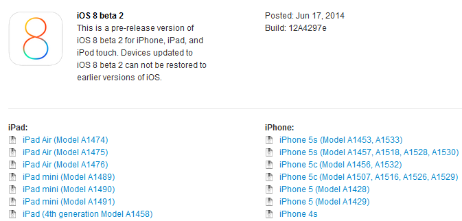 iOS 8 beta 2 - iOS 8 bêta 2 disponible sur iPhone, iPad, iPod Touch