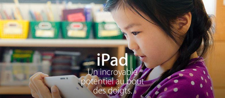 iPad education - Apple ajoute l'iPad à son Apple Store éducation