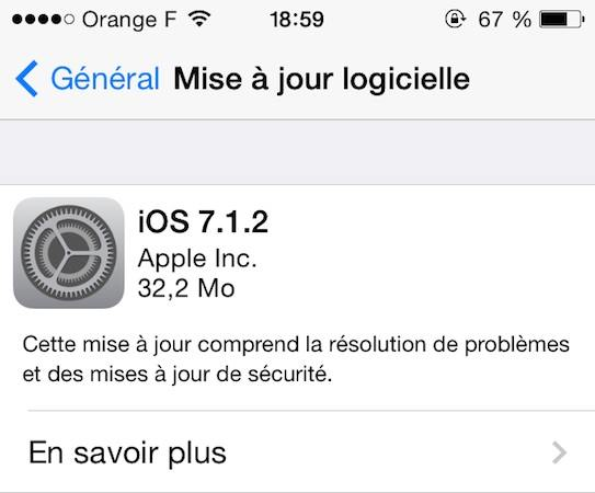 iOS 7.1.2 - iOS 7.1.2 disponible sur iPhone, iPad, iPod Touch
