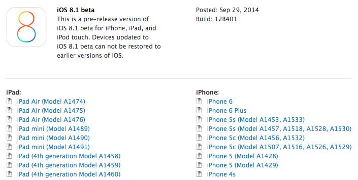 iOS 8.1 beta 1 - iOS 8.1 bêta 1 est disponible