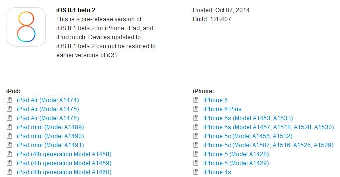 iOS 8.1 beta 2 - iOS 8.1 bêta 2 est disponible
