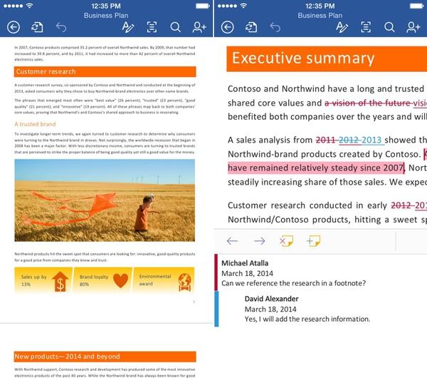Office iOS - Microsoft Office : mise à jour pour iPhone, gratuité sur iPad