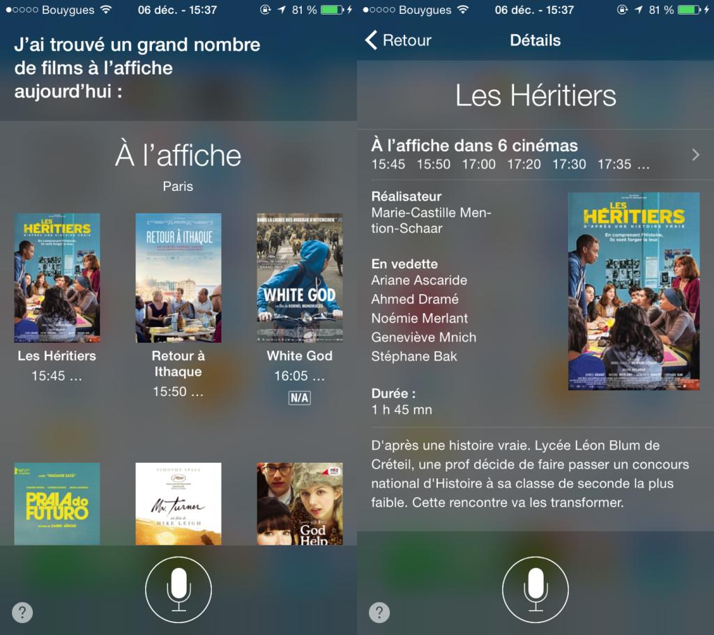 Siri cinema 1024x911 - Siri permet de rechercher des séances de cinéma