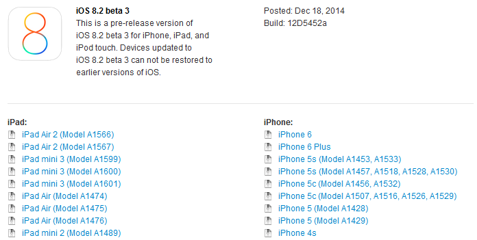 iOS 8.2 beta 3 - iOS 8.2 bêta 3 disponible sur iPhone, iPad, iPod Touch