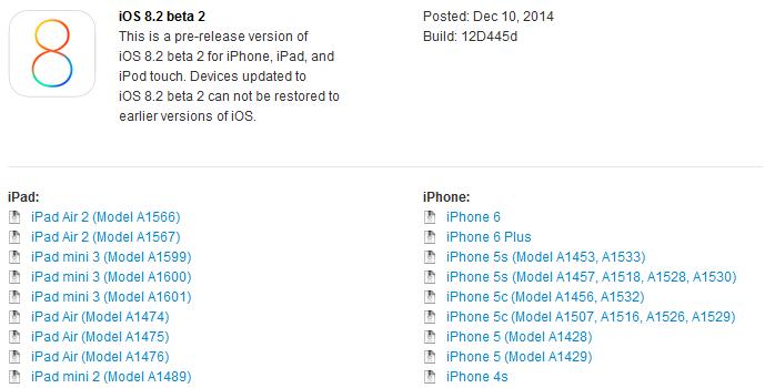 ios 8.2 beta 2 - iOS 8.2 bêta 2 disponible sur iPhone, iPad & iPod Touch