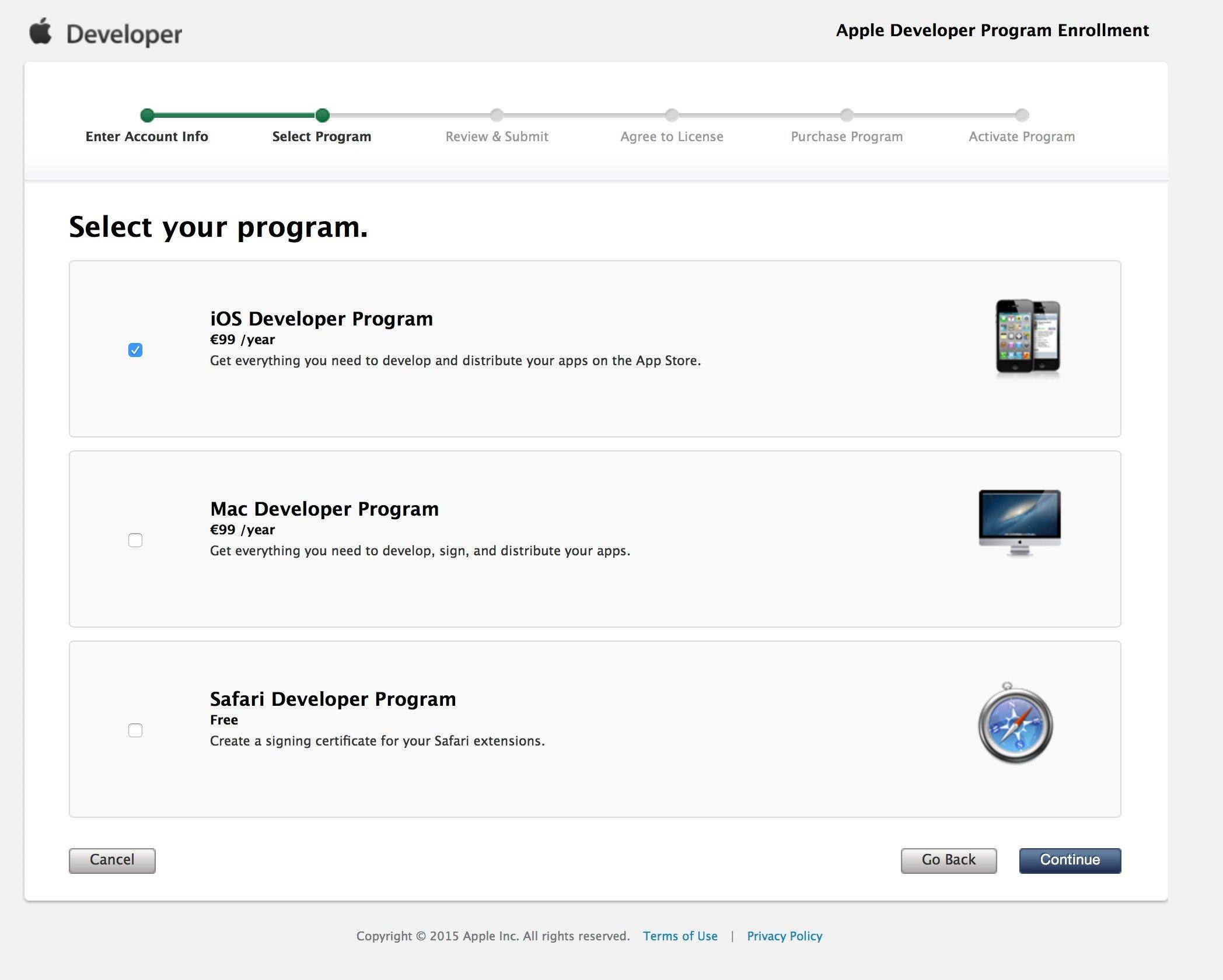 Comptes développeurs Apple