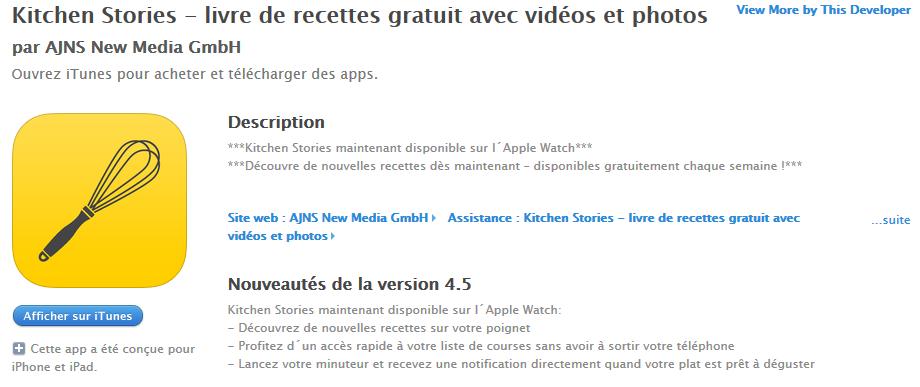 Kitchen Stories Apple Watch changelog - Apple Watch : les premières applications déjà disponibles