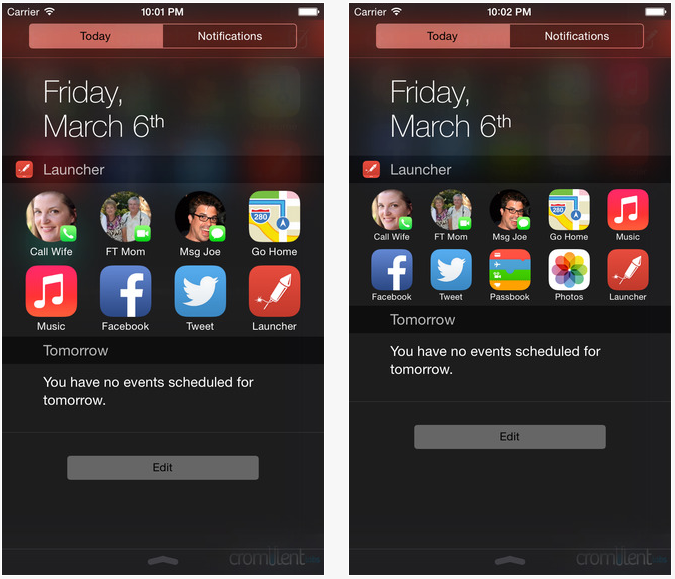 Launcher iPhone iOS 8 - Launcher : l'application au widget indispensable sur iPhone (iOS 8)