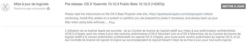 OS X Yosemite 10.10.3 public beta - Mac : OS X Yosemite 10.10.3 disponible en bêta publique
