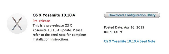 OS X Yosemite 10.10.4 beta 1 - Mac : OS X Yosemite 10.10.4 bêta 1 disponible
