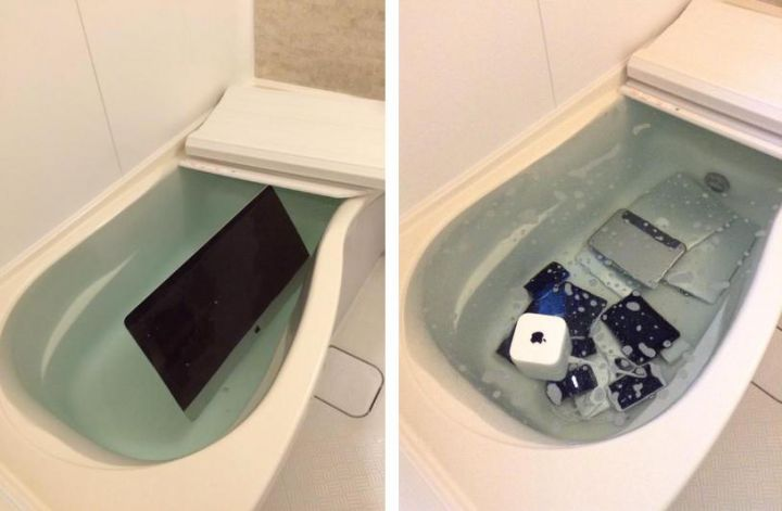 apple baignoire tromper femme - Insolite : voilà ce qui arrive à un fan d'Apple qui trompe sa femme