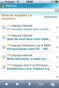 msniphone 200x300 - Le site mobile Hotmail s'adapte à l'iPhone.