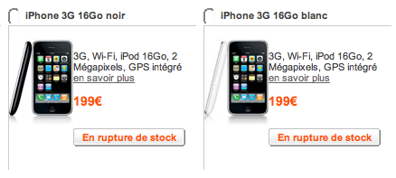 rupture16gb - Rupture de stock pour l'iPhone 3G 16GB