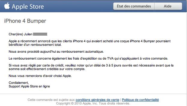 Capture d'écran 2010 07 22 à 23.57.381 - Bumper pour iPhone 4 : Apple rembourse déjà!