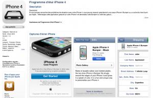 Commandez votre bumper/étui gratuit depuis l'application Apple dédiée