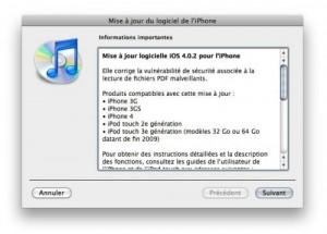 mise à jour iOS4.0.2