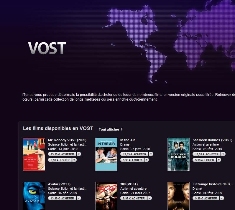 Vost - Des films en VOST disponibles sur l'apple store.