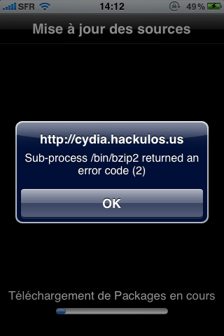 Supprimer une source Cydia défectueuse