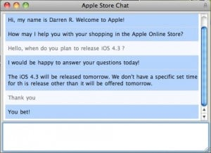 123840 ios 4 3 release chat 300x217 - [EDIT] iOS 4.3 disponible dès ce soir ?