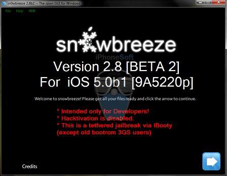 sn0wbreeze2.8 b2 - Jailbreak untheterd déjà disponible pour i0S 5.0 mais...