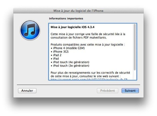 iOS 4.3.4 disponible !