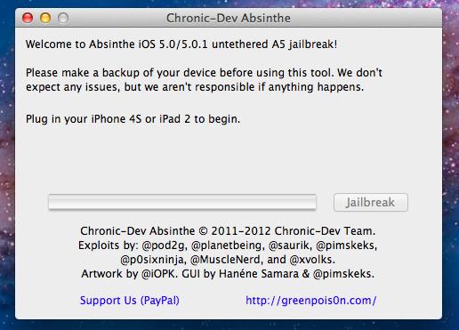 absinthe2 - [TUTO MAC] Jailbreak iPhone 4S et jailbreak iPad 2 iOS5