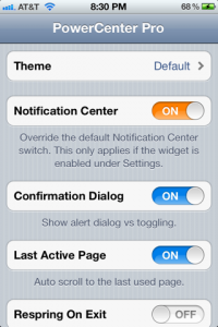 powercenterpro1 - [CYDIA] PowerCenter Pro : La fin de SBSettings ? ;)
